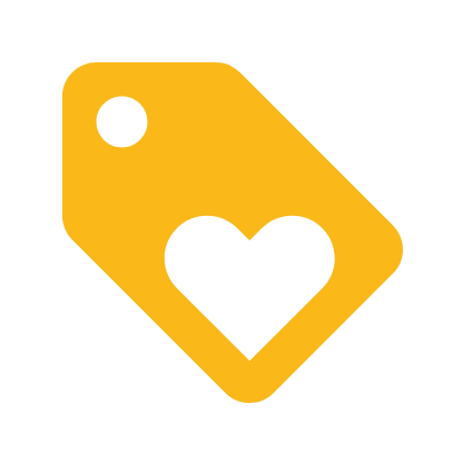 Gold price tag with heart icon